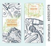 healthy food flyers set.... | Shutterstock .eps vector #605051978