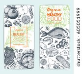 healthy food flyers set.... | Shutterstock .eps vector #605051999