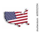 3d map of usa  aka united... | Shutterstock .eps vector #605052554