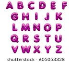 pink alphabet foil party... | Shutterstock . vector #605053328