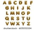 gold alphabet foil party... | Shutterstock . vector #605053334