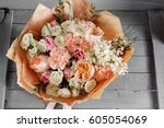 bouquet of roses and other...   Shutterstock . vector #605054069