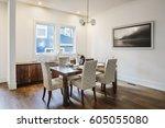modern dining room  seating for ... | Shutterstock . vector #605055080