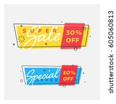 set of trendy flat geometric... | Shutterstock .eps vector #605060813