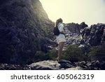 backpack women traveler journey ... | Shutterstock . vector #605062319