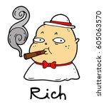 rich man is smoking a cigar   Shutterstock . vector #605063570