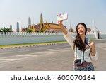 travel selfie smart phone by... | Shutterstock . vector #605070164