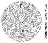 line art vector hand drawn set... | Shutterstock .eps vector #605075060