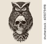 elaborate drawing of owl... | Shutterstock .eps vector #605075498