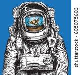 hand drawn astronaut filled... | Shutterstock .eps vector #605075603