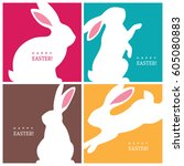 Stock vector set of four creative design concepts with white bunny silhouettes for easter greeting card banner 605080883