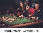 upper class friends gambling in ...   Shutterstock . vector #605081378