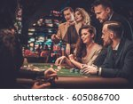 upper class friends gambling in ... | Shutterstock . vector #605086700