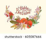 happy birthday  vector... | Shutterstock .eps vector #605087666