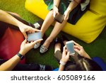 group of three young people... | Shutterstock . vector #605089166