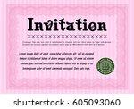 pink invitation template....   Shutterstock .eps vector #605093060