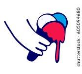 hand holds a melting ice cream | Shutterstock .eps vector #605094680