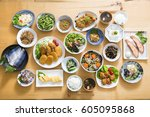 japanese home cooking | Shutterstock . vector #605095868