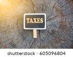 black notice board written... | Shutterstock . vector #605096804