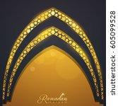 islamic vector design ramadan... | Shutterstock .eps vector #605099528
