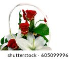 three roses in a flower pot | Shutterstock . vector #605099996