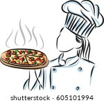woman chef cooker with pizza...   Shutterstock .eps vector #605101994