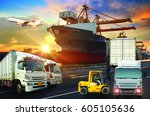 logistics and transportation of ... | Shutterstock . vector #605105636