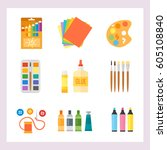 themed kids creativity creation ... | Shutterstock .eps vector #605108840