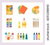 themed kids creativity creation ... | Shutterstock .eps vector #605108840