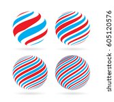 abstract red and blue spheres... | Shutterstock .eps vector #605120576