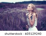 beautiful romantic woman in the ... | Shutterstock . vector #605129240