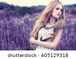 beautiful romantic woman in the ... | Shutterstock . vector #605129318