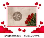 hearts love background. red... | Shutterstock . vector #605129996