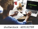 computer screen show about... | Shutterstock . vector #605132789