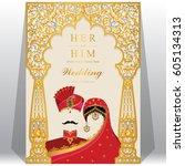 indian wedding invitation card... | Shutterstock .eps vector #605134313