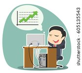 businessman relaxing thinking...   Shutterstock . vector #605135543