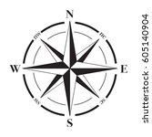 a vector compass rose with... | Shutterstock .eps vector #605140904