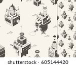 isometric flying machines.... | Shutterstock .eps vector #605144420