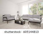 white room with sofa and green... | Shutterstock . vector #605144813