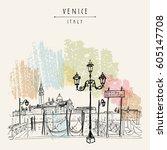 gondola pier in venice  italy.... | Shutterstock .eps vector #605147708