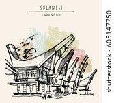 traditional tongkonan houses in ...   Shutterstock .eps vector #605147750