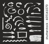 handcrafted elements. hand... | Shutterstock .eps vector #605161070