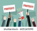 crowd of people protesters.... | Shutterstock .eps vector #605165390