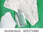 the woman hygiene set | Shutterstock . vector #605171684