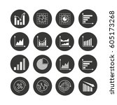 graph and chart icon set in... | Shutterstock .eps vector #605173268