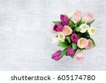 colorful tulips bouquet on... | Shutterstock . vector #605174780