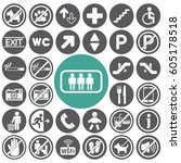 public icons set.vector... | Shutterstock .eps vector #605178518
