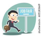businessman going to job fair   Shutterstock .eps vector #605183669