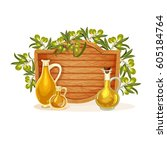 olive branch decorative element.... | Shutterstock .eps vector #605184764