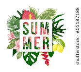 colorful summer background with ... | Shutterstock .eps vector #605187188
